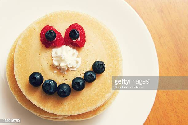 Plate of Pancakes with a Funny Face