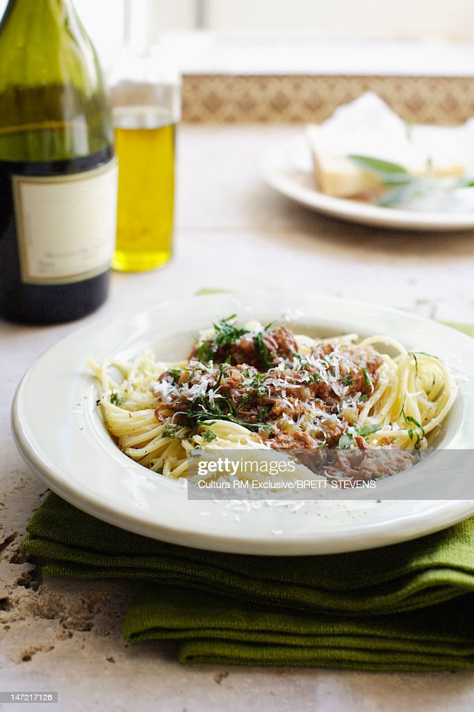Plate of pasta with meat and cheese : Stock Photo