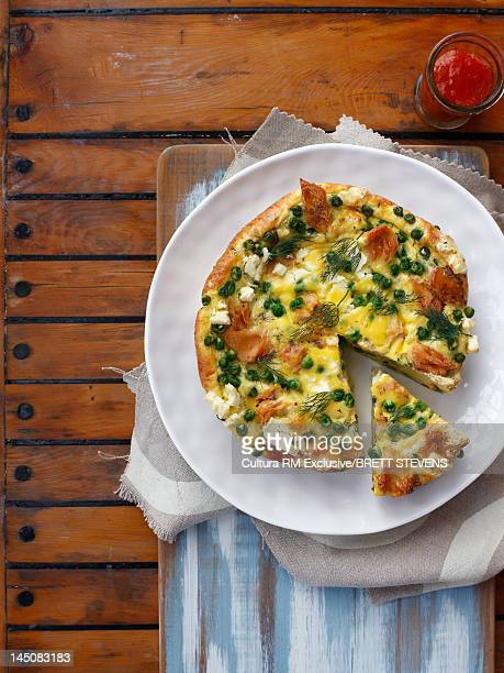 Plate of pea and cheese quiche