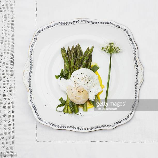 Plate of poached egg and asparagus