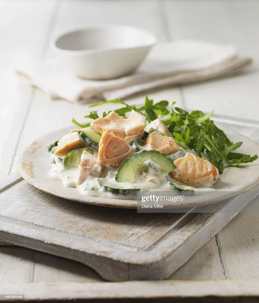Plate of poached salmon with salad : Stock Photo