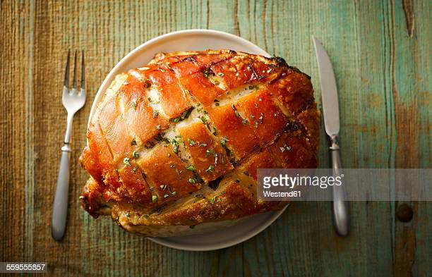 Plate of pork roast with crackling