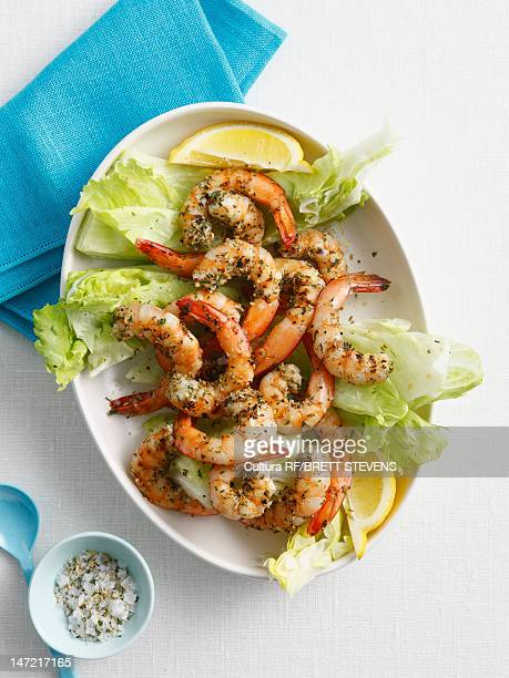 Plate of prawns and salad