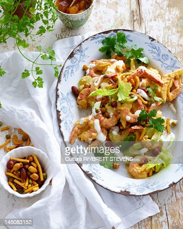 Plate of prawns with salad : Stock Photo
