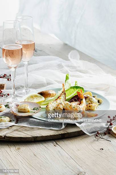 Plate of prawns with wine