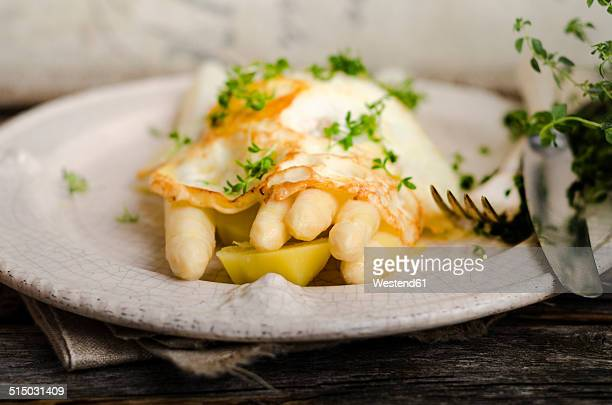Plate of prepared white asparagus with potatoes, fried egg and herbs on wood