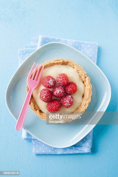 Plate of raspberry tart, close up
