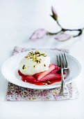 Plate of rhubarb with ice cream