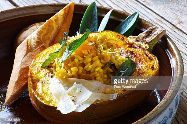 Plate of risotto stuffed pumpkin