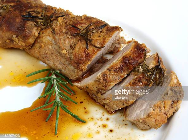 A plate of roasted pork sirloin