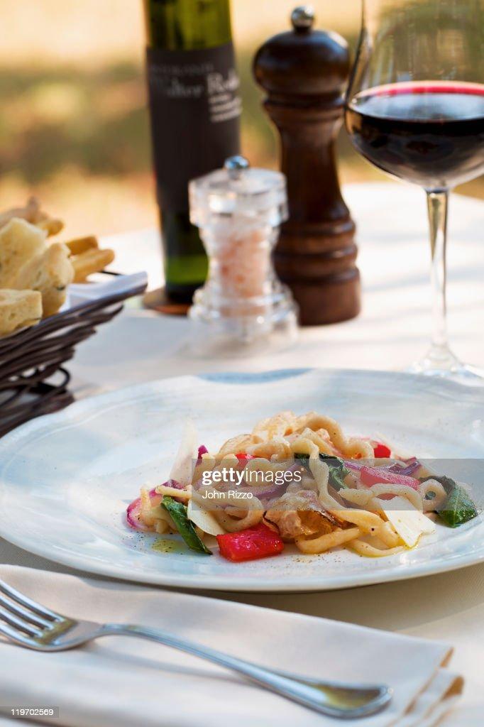 Plate of rustic pasta salad