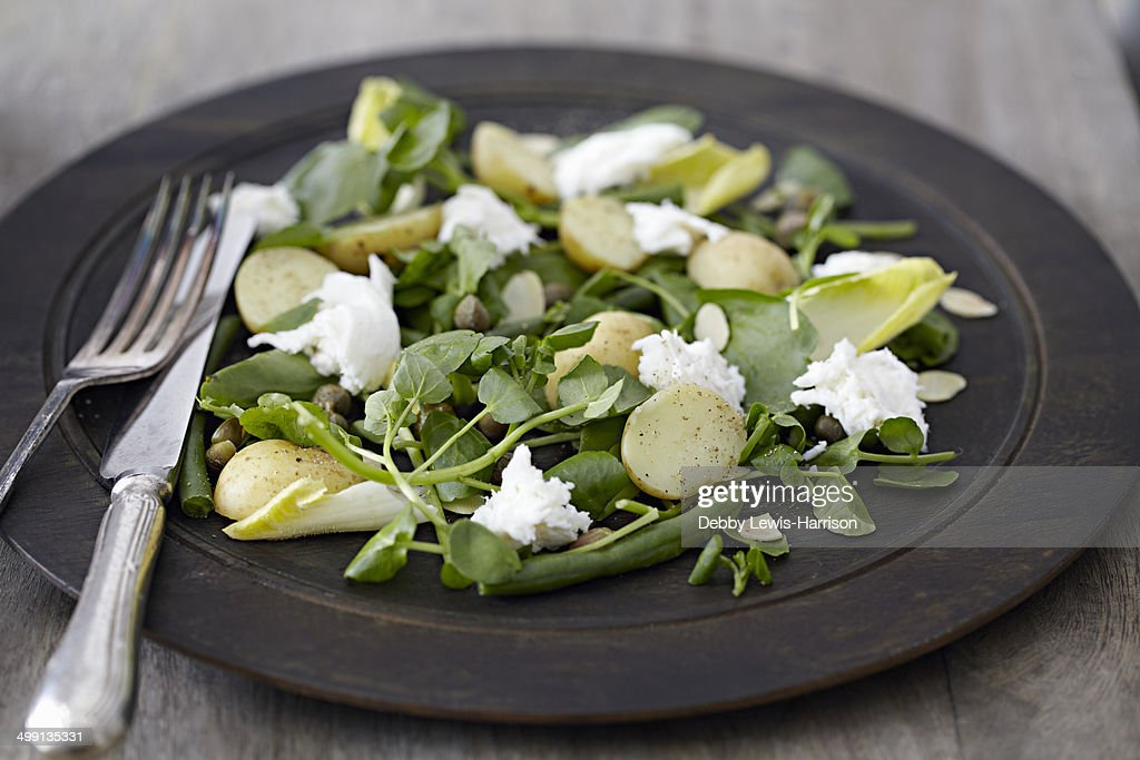 Plate of salad, cheese and new potatoes