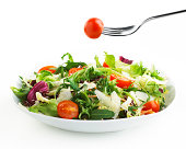 plate of Salad with fork and tomato