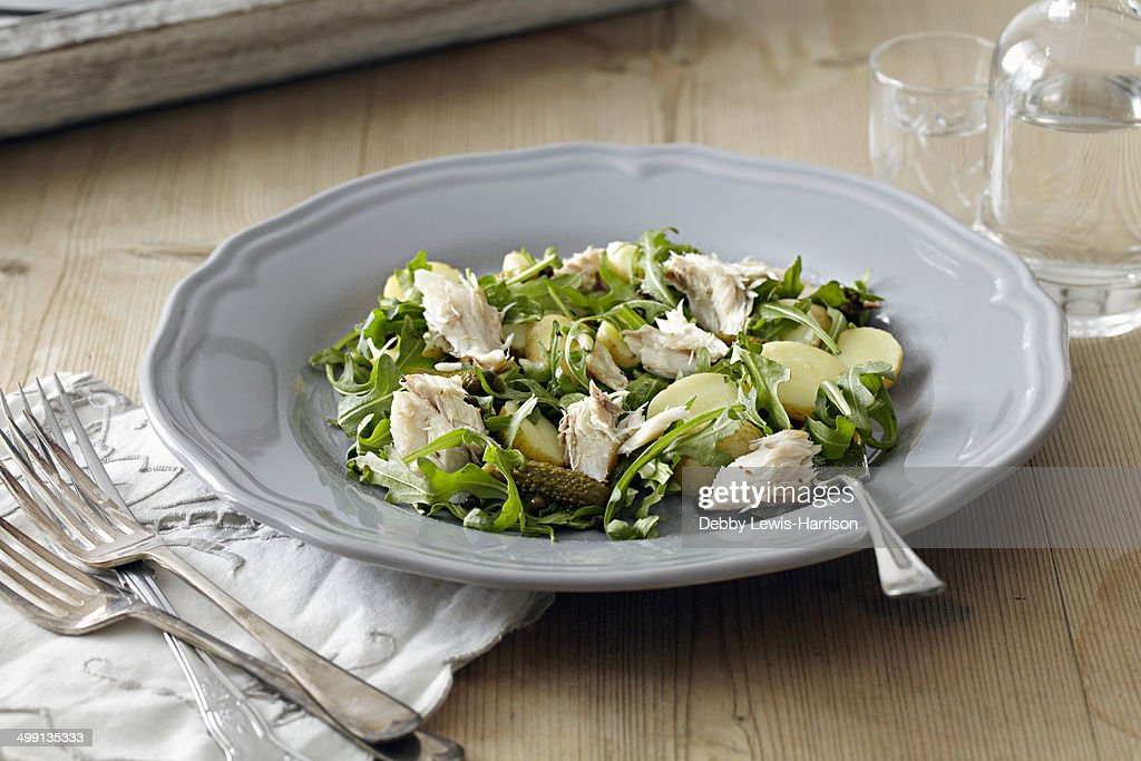 Plate of salad with new potatoes