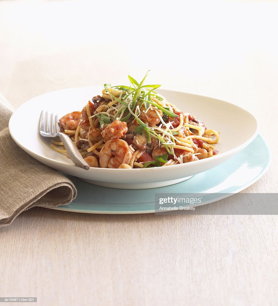 Plate of shrimp pasta : Stock Photo
