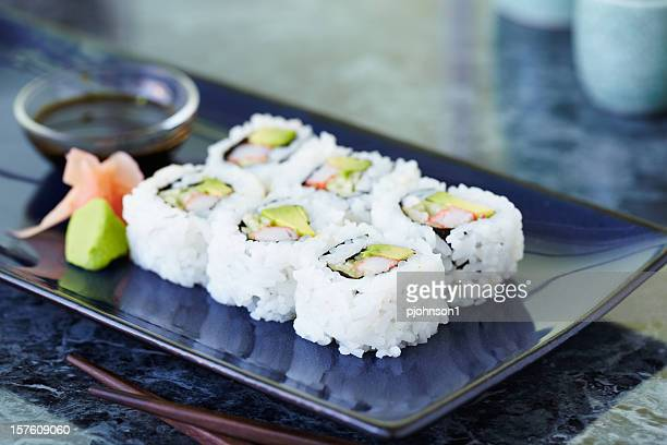 A plate of six California rolls