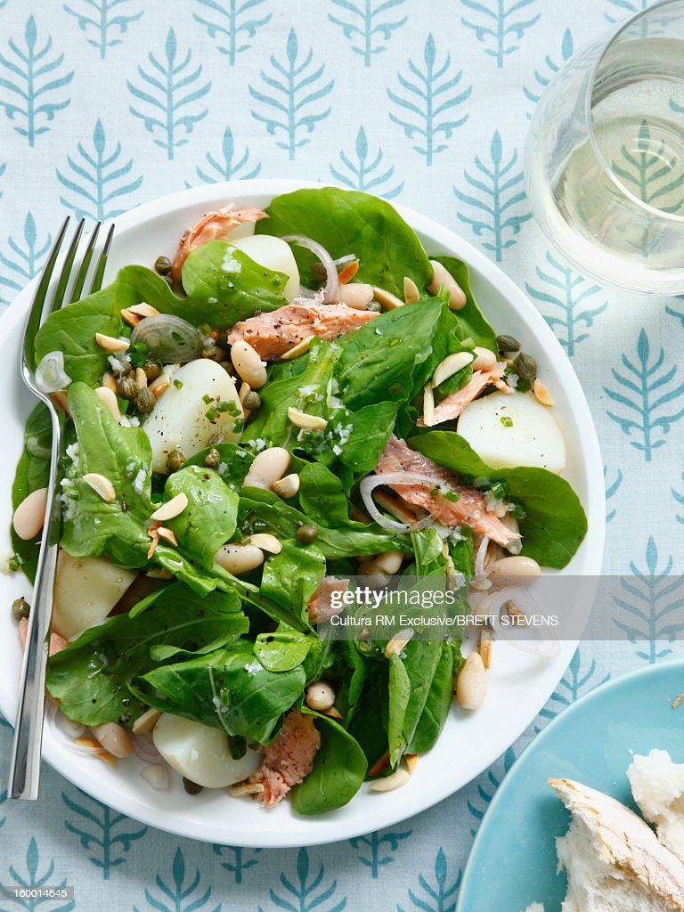 Plate of smoked trout salad : Stock Photo