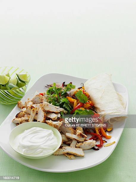 Plate of spicy chicken burrito