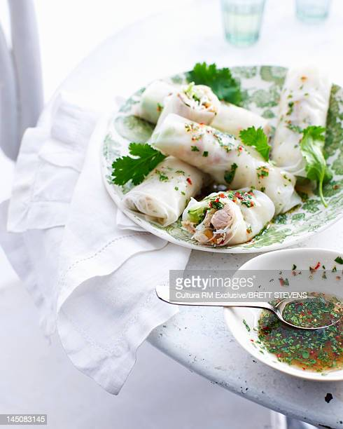 Plate of spring rolls with herb sauce