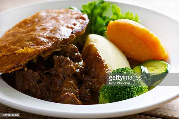Plate of steak and kidney pie