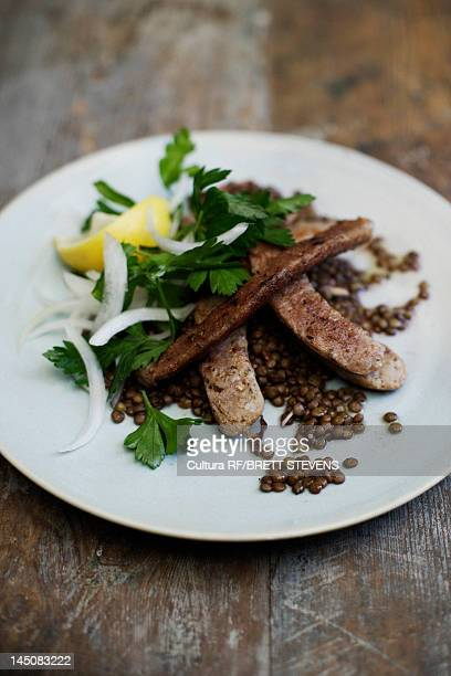 Plate of steak and lentils