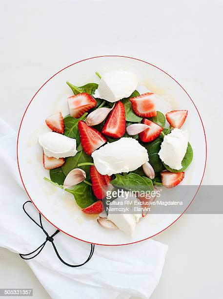 Plate of strawberry and ricotta salad