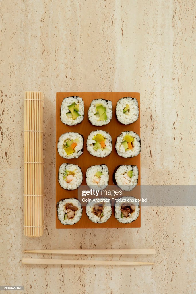 Plate of sushi with chopsticks