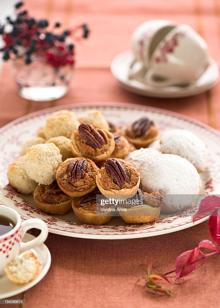 Plate of sweets and coffee : Stock Photo