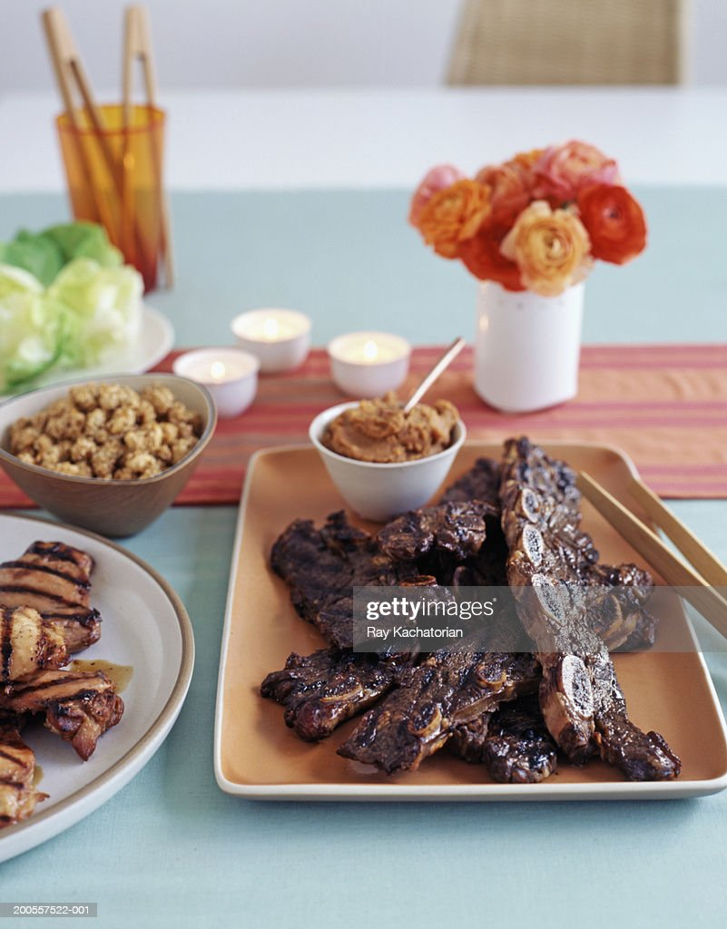 Plate of traditional korean food : Stock Photo
