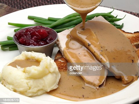 Plate of turkey with gravy, mashed potatoes and green beans