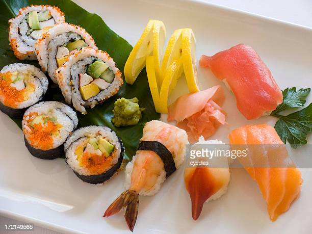 Plate of various kinds of sushi