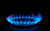 Gas stove, lit a blue flame burner