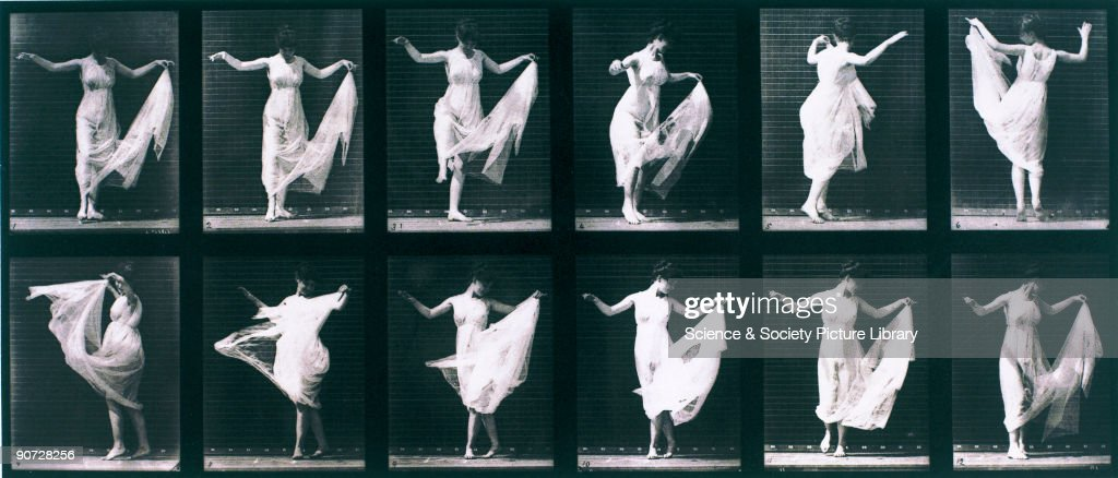 Plate taken from Muybridge's 'Animal Locomotion' (1887). Eadweard Muybridge (1830-1904) was the first photographer to carry out the analysis of movement by sequence photography, an important stage in the invention of cinematography.
