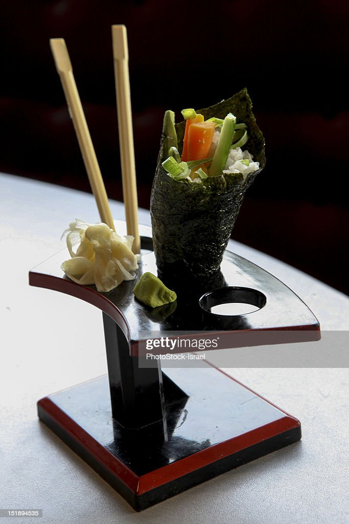 Plate with a sushi cone : Stock Photo