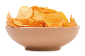 Plate with chips isolated on white background isolation