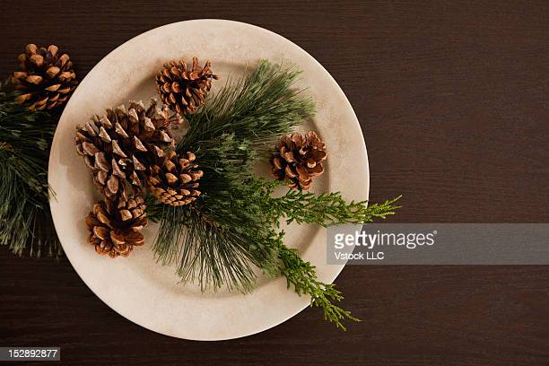 Plate with Christmas Decoration, directly above