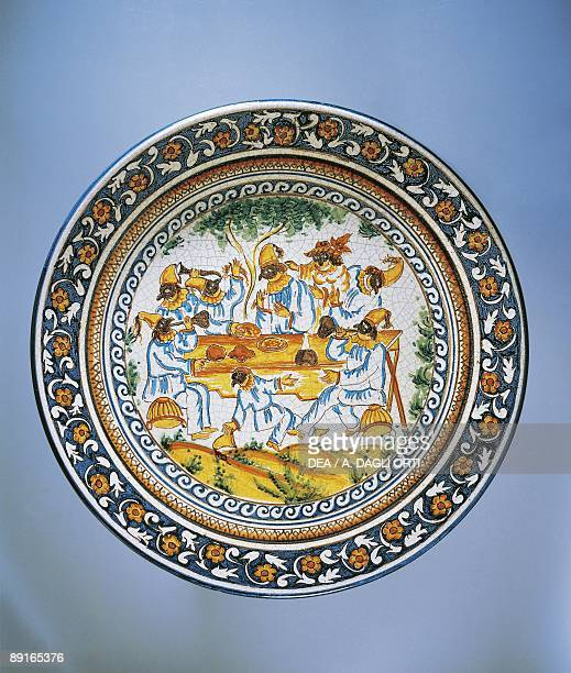 Plate with illustration of Commedia dell'Arte