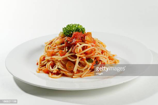 Plate with individual serving of spaghetti bolognese