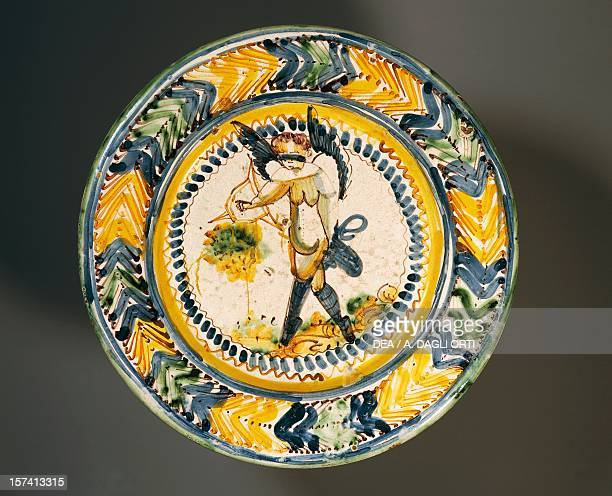 Plate with Love and Luck painted maiolica Ariano Irpino manufacture Campania Italy 17th century Ariano Irpino Museo Civico Palazzo Forte