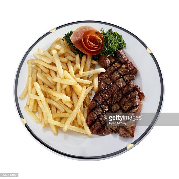 Plate with Steak and French Fries