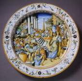 Plate with subject inspired by The Fire in the Borgo by Raffaello and grotesque decorated edge ceramic Fontana workshop Urbino Marche Italy 16th...