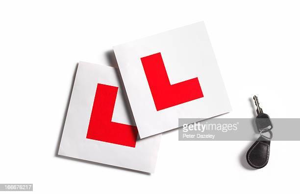 L plates and car key