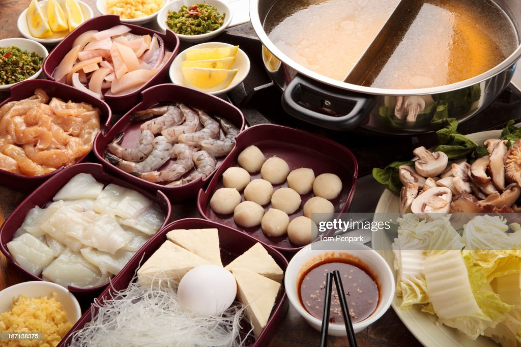 Plates of food on table : Stock Photo