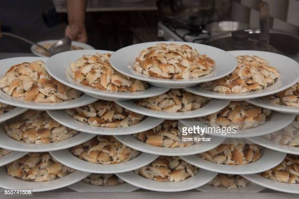 Plates of small pieces of bread called Tirit, in Kastmonu restaurant window, northern Turkey