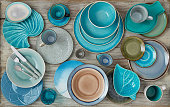 Different plates on wood