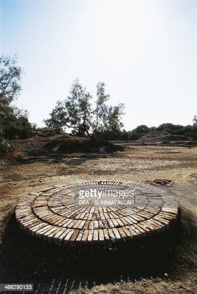 Platform for grinding grains Harappa archaeological site of the civilisation of the Indus Valley 3rd millennium BC Punjab Pakistan