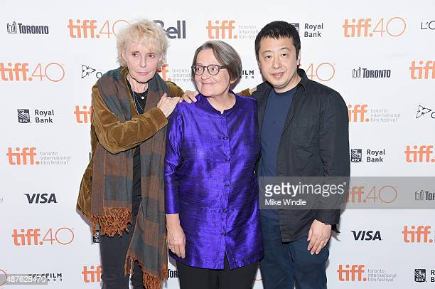 TIFF Platform jury members Claire Denis Agnieszka Holland and Jia Zhangke attend the world premiere of 'Land of Mine' during the 2015 Toronto...