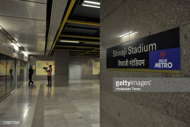 Platform of Shivaji Stadium Metro Station Airport Express Line metro on July 1 2013 in New Delhi India Delhi Metro takes over 227 kmline operations...