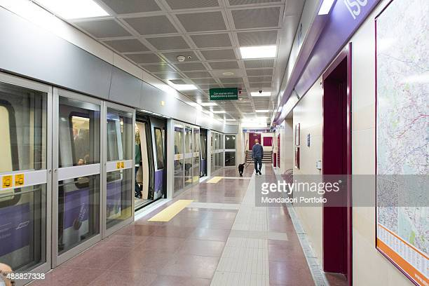 Platform of the Line M5 provided with security gates which open only when the train has stopped pointed on the maps with a lilac colour which...