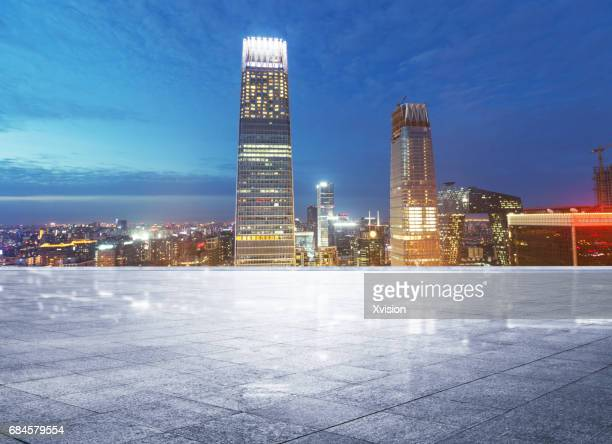 platform with modern skyscraper as background in Beijing CBD area